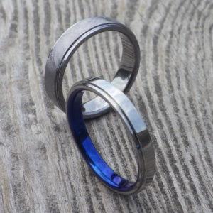 タンタルとハフニウムのペア・お揃いの結婚指輪 Tantalum & Hafnium Rings