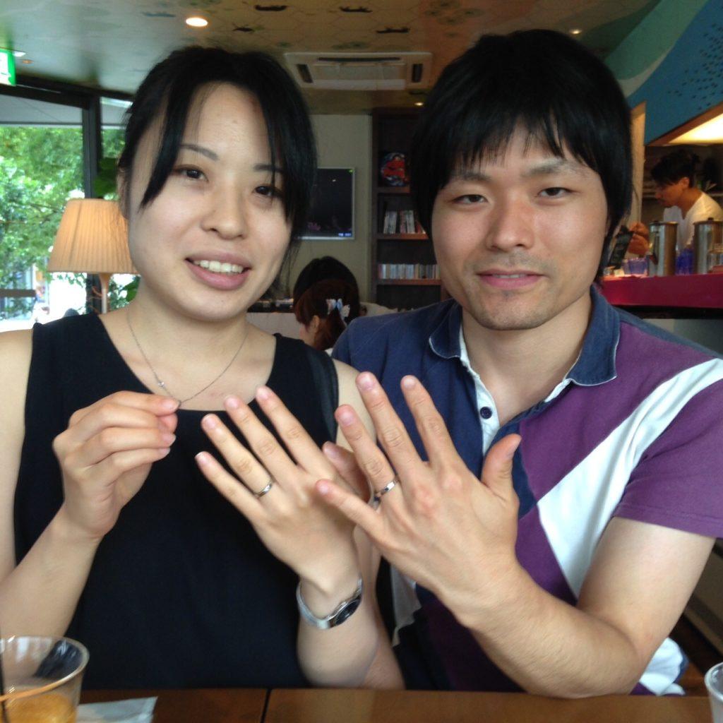 イリジウムとハフニウムを組み合わせた結婚指輪をご注文のお客様