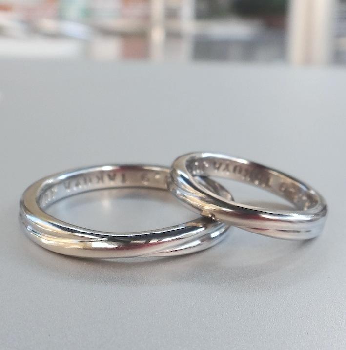 1つの材料から2つの指輪 ハフニウムの結婚指輪 Hafnium Rings