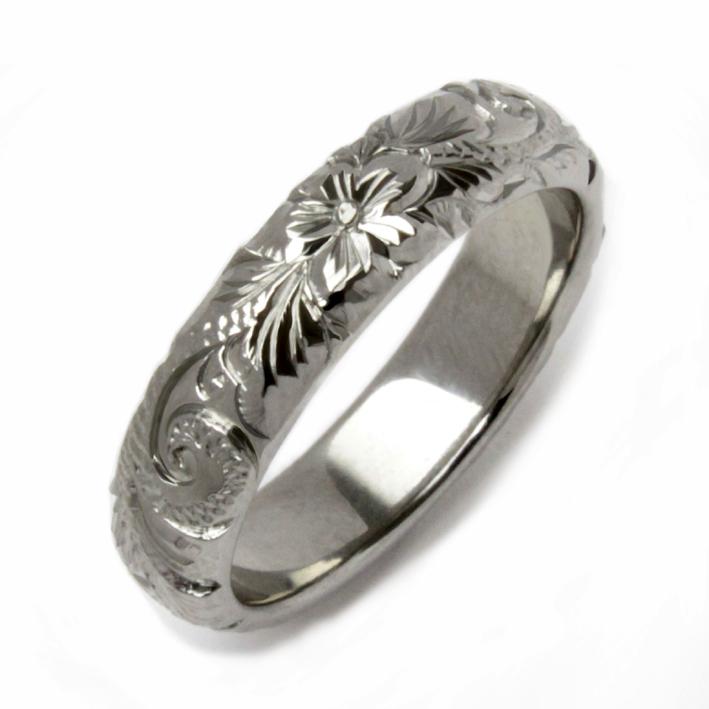 ハイビスカスとマイレと波紋様のジルコニウムリング Zirconium Ring
