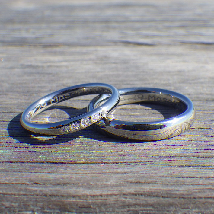 幸せなかたち!ダイヤモンドとハフニウムの結婚指輪 Hafnium Rings