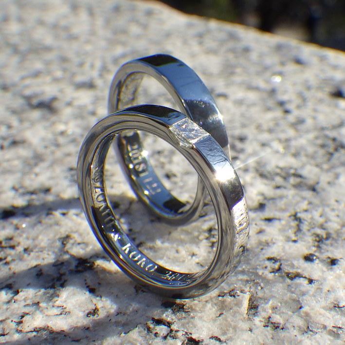端正なプリンセスハグセッティング・ハフニウムの結婚指輪